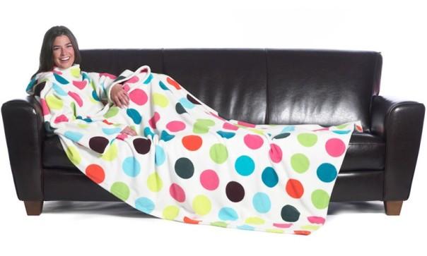 slanket-bubulle-la-couverture-polaire-a-manches-blanche-et-pois-multicolores